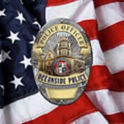 Oceanside Police Department - Opd Officer Badge Over American Flag Poster