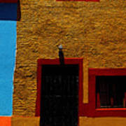 Ochre House With Blue Sky Poster