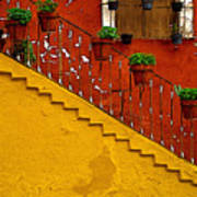 Ochre Staircase With Red Wall 2 Poster