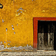 Ochre Wall With Red Door Poster by Mexicolors Art Photography