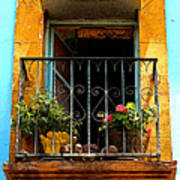 Ochre Window In Turqoise Poster by Mexicolors Art Photography