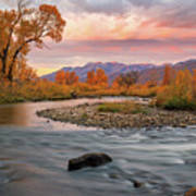October Sunrise At The Provo River. Poster