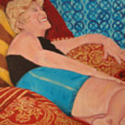 Odalisque In Blue Shorts Poster