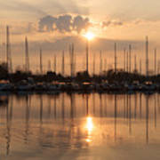 Of Yachts And Cormorants - A Golden Marina Morning Poster