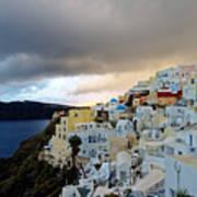 Oia Santorini Sunset Poster