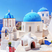 Oia Town On Santorini Island Greece Aegean Sea Poster