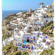 Oia Watercolor Poster
