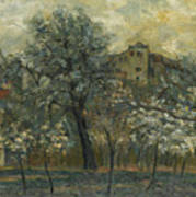 Oil Painting House Tree Poster