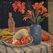 Oil Painting Still Life Vase Fruits Poster