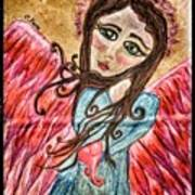 Oil Pastel Angel Poster