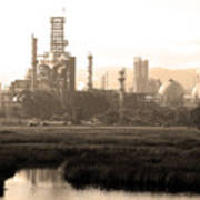 Oil Refinery Industrial Plant In Martinez California . 7d10364 . Sepia Poster