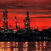 Oil Rigs Night Construction Portland Harbor Poster