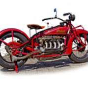 Old 1930's Indian Motorcycle Poster by Mamie Thornbrue