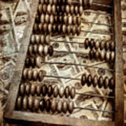 Old Accounting Wooden Abacus Poster