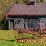 Old Barn And Rusty Farm Implement 02 Poster