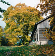 Old Barn In Autum Poster