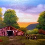 Old Barn In The Meadow Poster