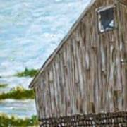 Old Barn In Winter Poster by Norman F Jackson
