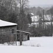 Old Barn In Winter Scenery Poster