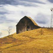 Old Barn With Windmill Poster