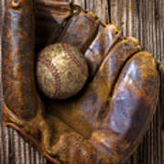 Old Baseball Mitt And Ball Poster