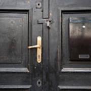Old Black Closed Door Poster