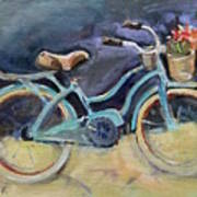 Old Blue Bicycle  Poster