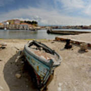 Old Boat In Crete Poster