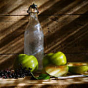 Old Bottle With Green Apples Poster