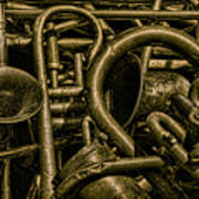Old Brass Musical Instruments Poster