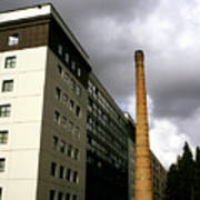 Old Brick Chimney Amongst Modern Office Buildings Near The Railway Station Perugia Umbria Italy Poster