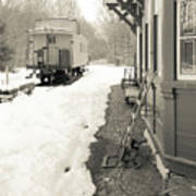 Old Caboose At Period Train Depot Winter Poster