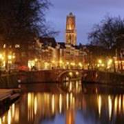 Old Canal And Dom Tower In Utrecht In The Evening 16 Poster