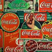 Old Coca-cola Sign Collage Poster