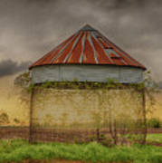 Old Corn Crib In The Cloudy Sky Poster