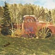 Old Dodge Truck In Garden Poster
