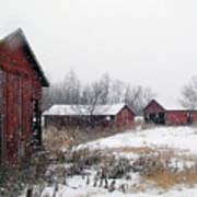 Old Farm Sheds In Snow Poster