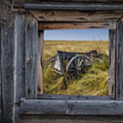 Old Farm Wagon Viewed Through A Barn Window Poster