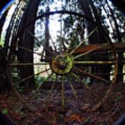 Old Farm Wagon Wheel Poster