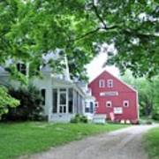 Old Farmhouse And Red Barn Poster
