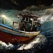 Old Fishing Boat In A Storm  L A Poster
