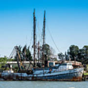 Old Fishing Boat In Port Poster