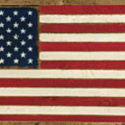Old Glory Displayed On Wood Poster