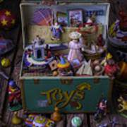 Old Green Toy Box Poster