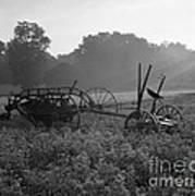 Old Hay Baler In Misty Field Poster