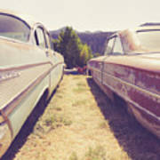 Old Junkyard Cars Chevy And Ford Utah Poster