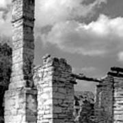 Old Limestone House Ruins Poster