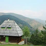 Old Log Cabin On Mountain Landscape Poster
