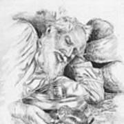 Old Man Feeding Chipmunk Poster