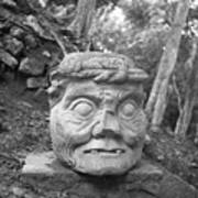 Old Man Of Copan Sculpture, Also Known As The Pauahtun Head From Poster